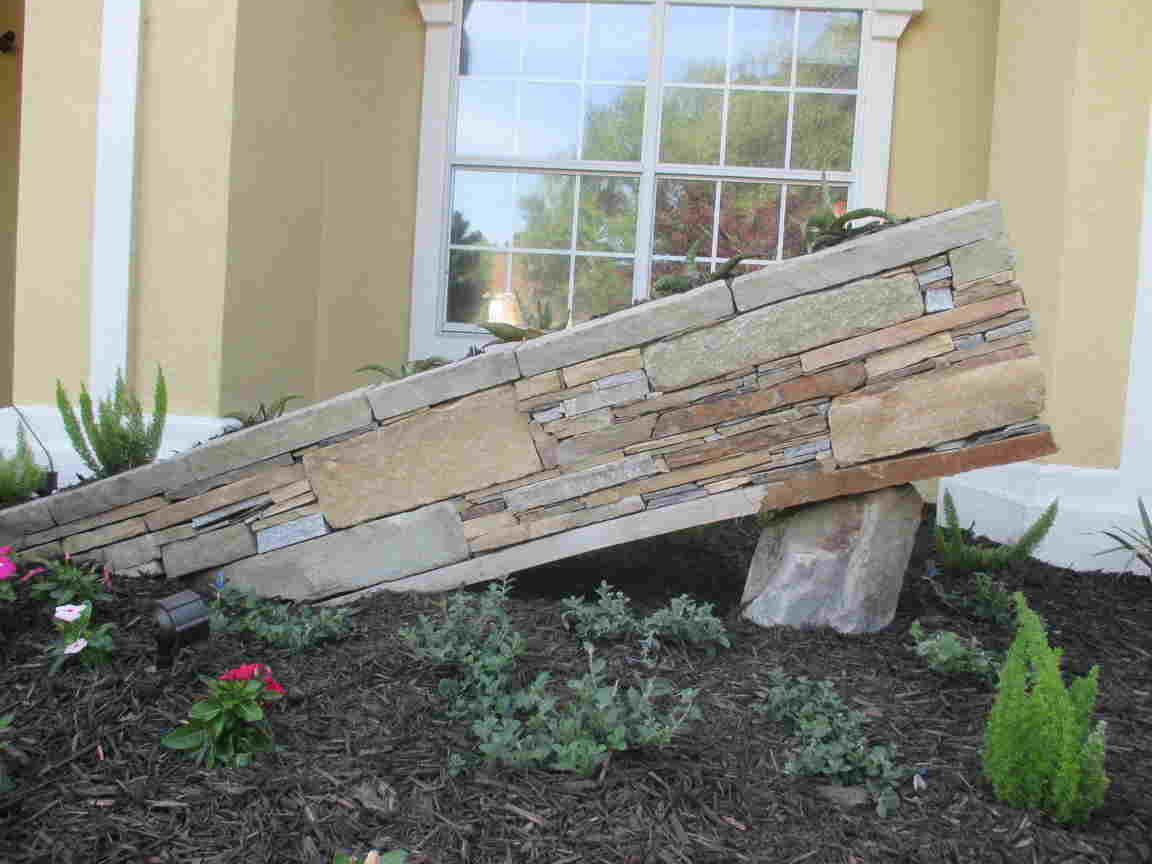 The Sunken Stacked Stone Planter Box